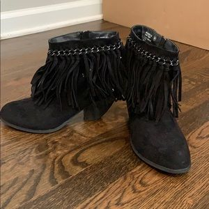 Not rated black ayita fringe booties